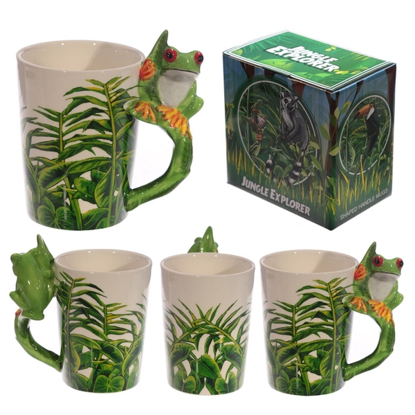 Ceramic Jungle Mug with Tree Frog Handle