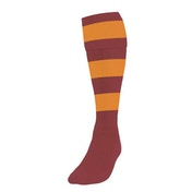 Precision Hooped Football Socks Large Boys Maroon/Amber