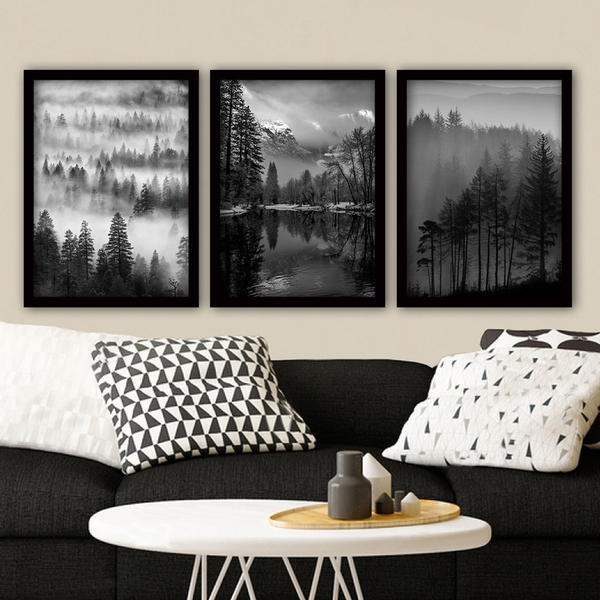 3SC07 Multicolor Decorative Framed Painting (3 Pieces)