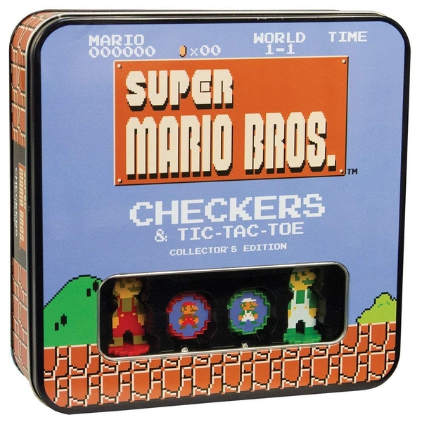 Super Mario Bros Classic Combo Checkers/Tic Tac Toe (Tin) Collector's Edition Board Game