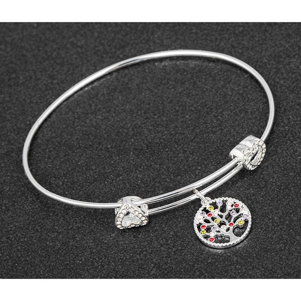 Harlequin Tree of Life Silver Plated Bangle