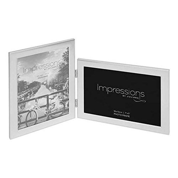 "5"" x 7"" - IMPRESSIONS? Hinged Silver Double Photo Frame"