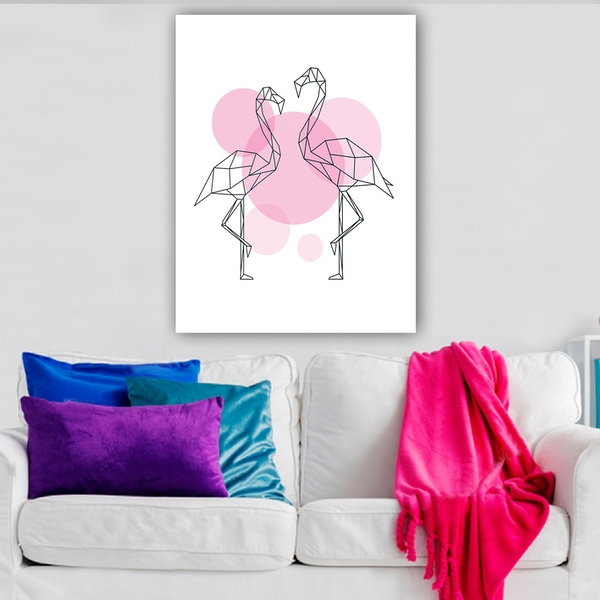 1109540141_70100 Multicolor Decorative Canvas Painting Abstract Flamingo