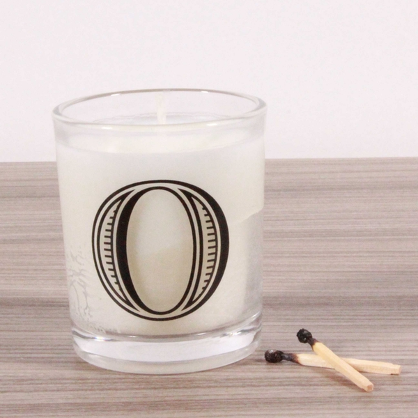O Alphabet Candle in Votive Glass