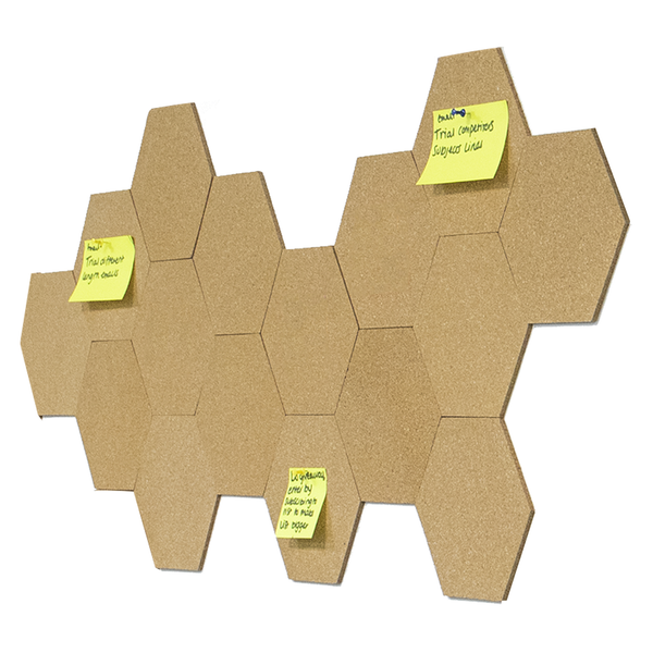 Pack of 8 Hexagon Cork Boards for Home & Office Notice Boards including Self Adhesive and 40 Pins   Pukkr