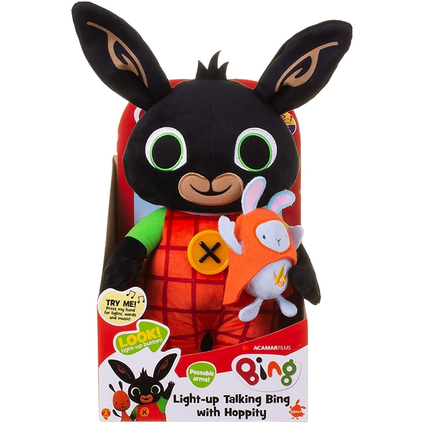 Light Up Talking Bing 36cm Soft Toy with Hoppity