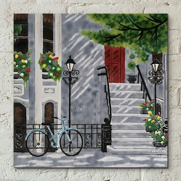 Tile 12x12 Floral Staircase By Kay Wall Art