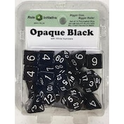 Opaque Black/White Poly 15 Set Dice