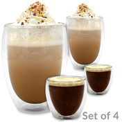 Double Walled Insulated Glasses | Thermal Coffee Glass Mug | M&W Set of 4 - 80ml & 350ml