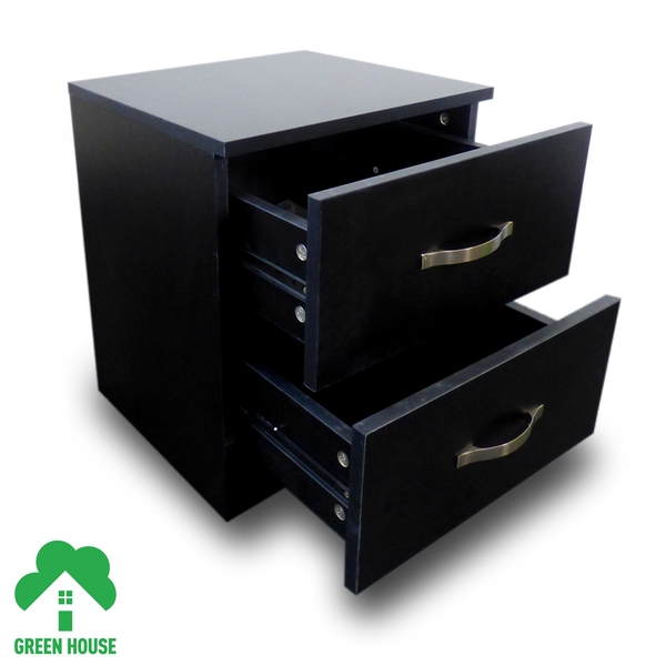 2 Chest Of Drawers Bedside Cabinet Black Dressing Table Bedroom Furniture Wooden Green House - Image 3