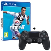FIFA 19 PS4 Game + Sony Dualshock 4 V2 Jet Black Controller