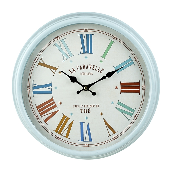 Large Blue Roman Numeral Wall Clock By Heaven Sends