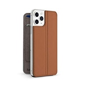 Twelve South SurfacePad for iPhone 11 Pro | Ultra-slim luxury Napa Leather Cover + display Stand with Sleep/Wake (Cognac)