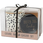 Dotty Dog Lady Mug and Coaster Set