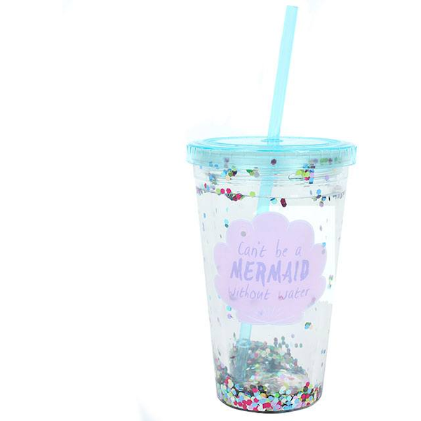 Cant be a Mermaid...Sequin Drinking Cup with Water