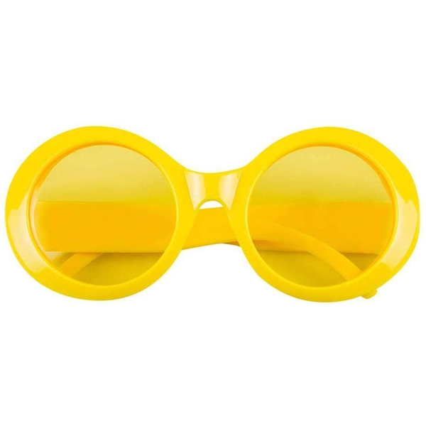 Round Neon Glasses Yellow Fancy Dress Accessory