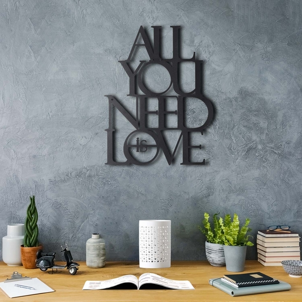 All You Need Is Love Black Decorative Metal Wall Accessory