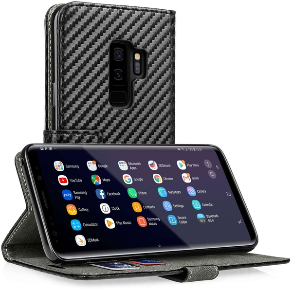 Samsung Galaxy S9 Plus Carbon PU Wallet  - Black