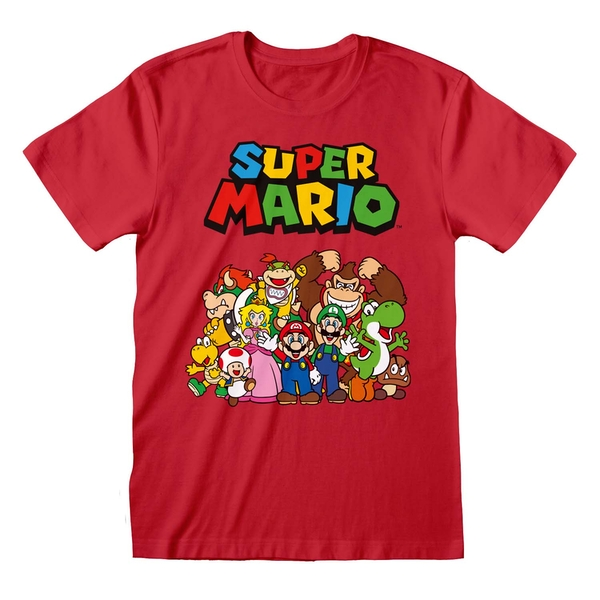 Super Mario - Main Character Group Unisex Large T-Shirt - Red