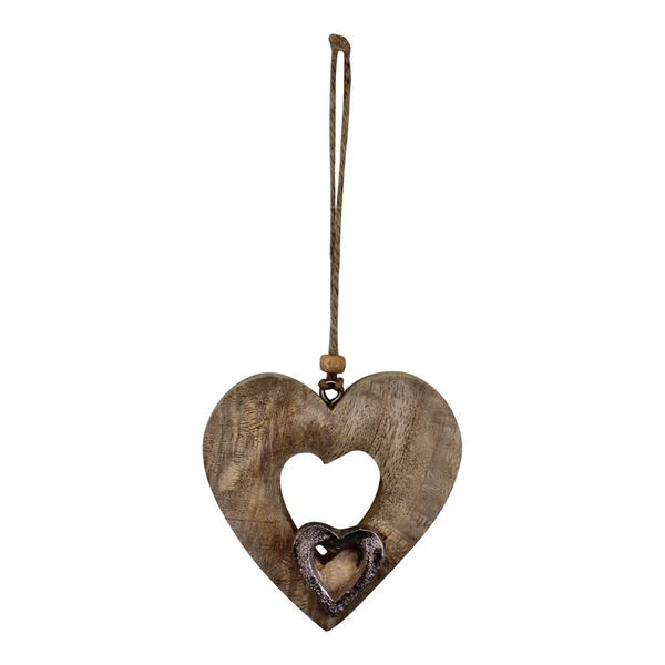 Small Wooden Cut Out Heart Decoration