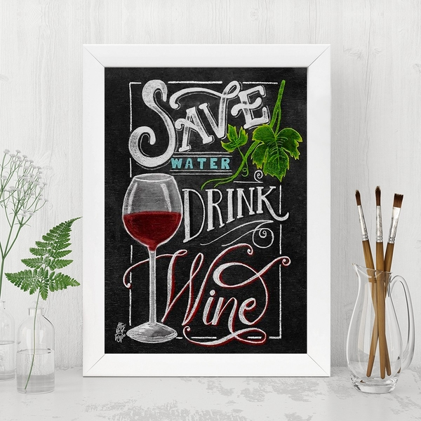 Save Water Drink Wine Multicolor Decorative Framed MDF Painting