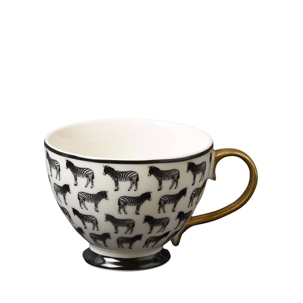 Animal Luxe Footed Mug All Over Zebra Print Black with Gold Handle