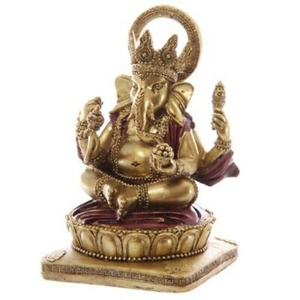 Gold and Red 16cm Ganesh Statue
