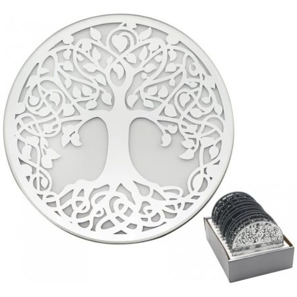 Silver Tree Mirrored Candle Plate 10cm (1 Supplied)