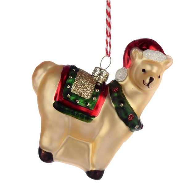 Llama Glass Christmas Bauble Decoration