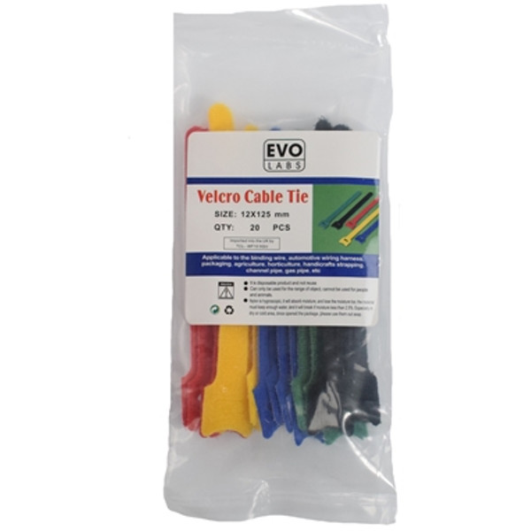 Evo Labs 20 pack of 125 x 12mm Multicolour Retail Package Packaged Hook and loop fastener Cable Ties