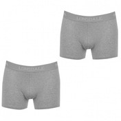 Lonsdale 2 Pack Mens Trunk Boxer Shorts Grey Marl Medium