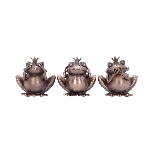 Bronze Crowned Three Wise Frogs Figurine