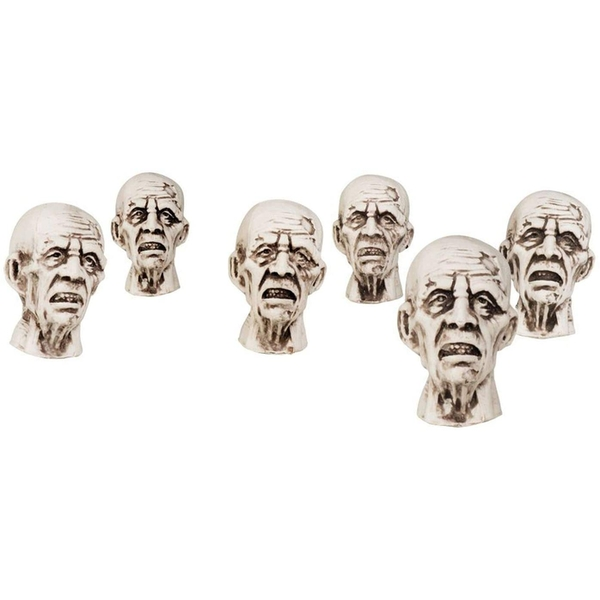Mini Prop Zombie Heads Decoration (Pack Of 6)