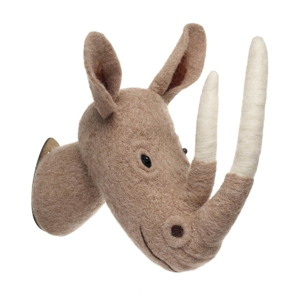 Woolen Rhino Head By Heaven Sends