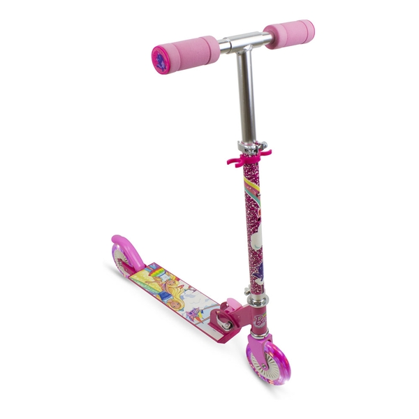 Barbie - Girls Dreamtopia Children's Foldable Two-Wheel Inline Scooter with LED Wheels Girl (Pink)