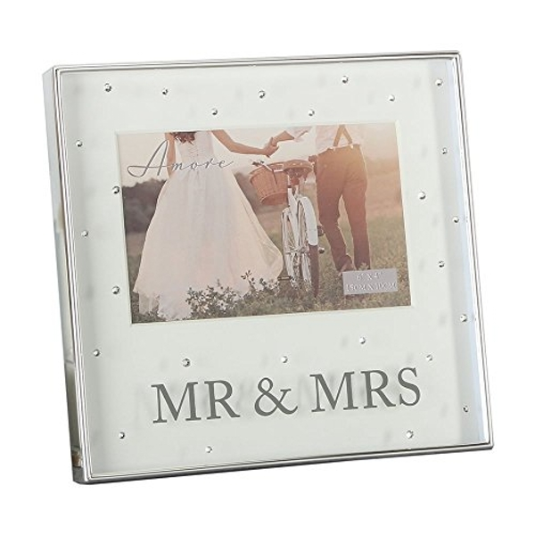 """6"""" x 4"""" - AMORE BY JULIANA? Frame with Crystals - Mr & Mrs"""