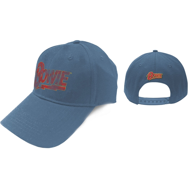 David Bowie - Flash Logo Men's Baseball Cap - Denim Blue