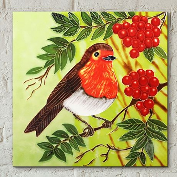 Tile 8x8 Red Berry Robin By Judith Yates Wall Art