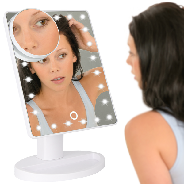 LED Light Up Illuminated Make Up Bathroom Mirror With Magnifier | M&W White New - Image 3