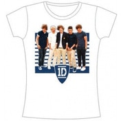 One Direction Ivy League Stripes Skinny White TS: XL