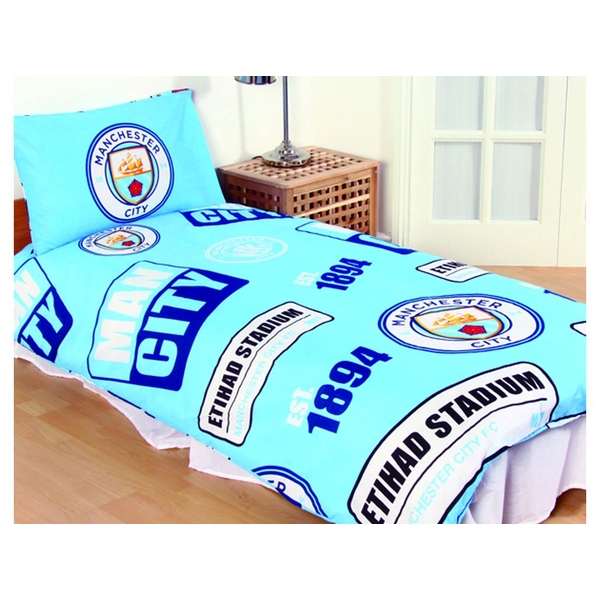 Man City Patch Single Duvet and Pillow Case Set
