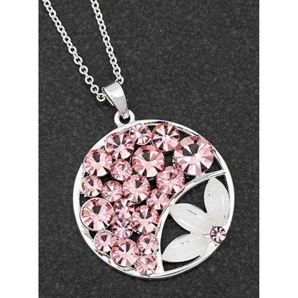 Boho Chic Silver Plated Floral Round Necklace