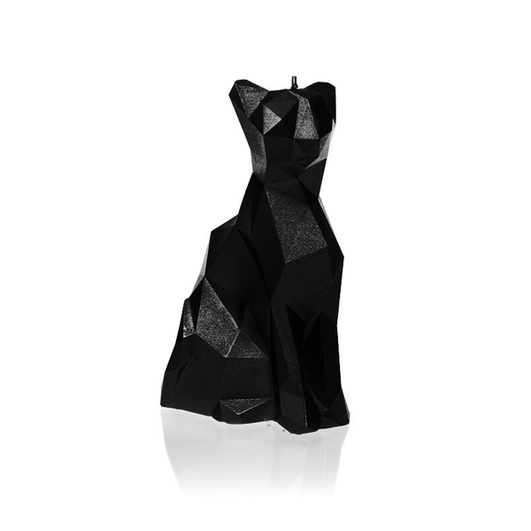 Black Metallic Low Poly Cat Candle