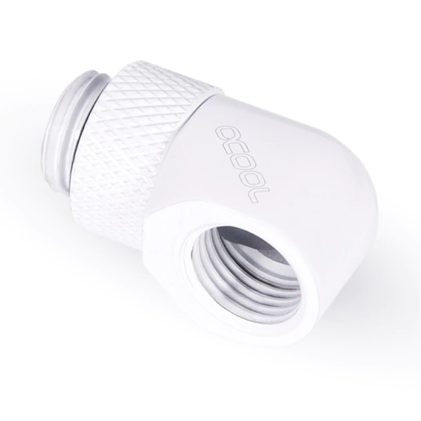 Image of Alphacool Eiszapfen 90 Degree Angled Rotary Fitting - White