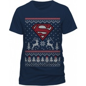 Superman - Reindeer & Snowman Unisex Small T-Shirt - Blue