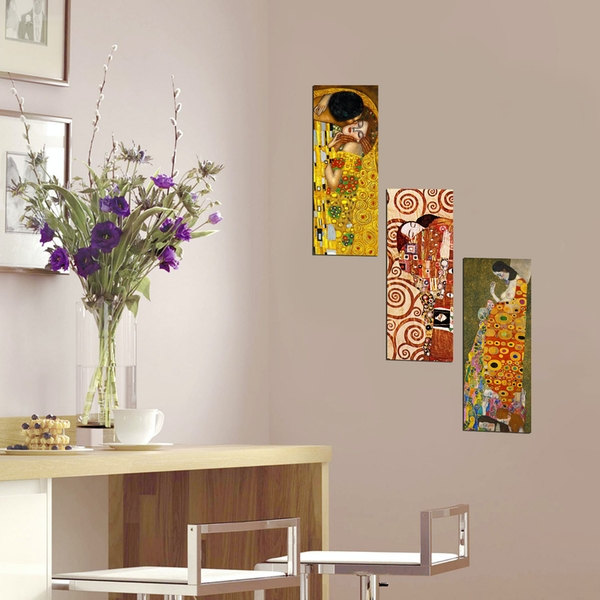 XTP134 Multicolor Decorative Framed MDF Painting (3 Pieces)