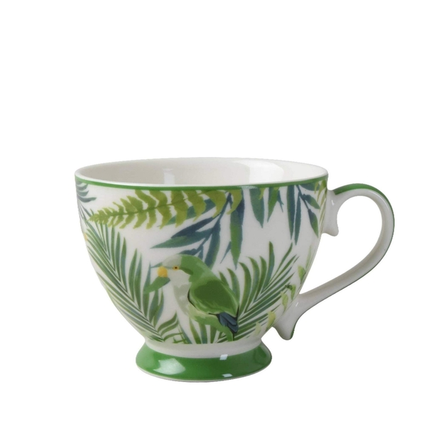 Footed Mug in Emerald Eden design with Light Green Handle