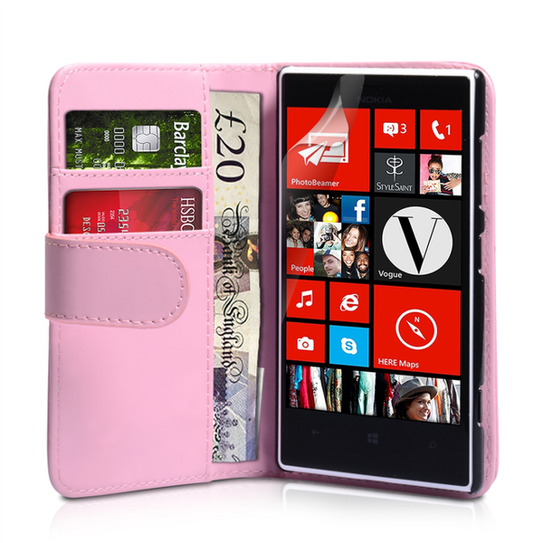 YouSave Accessories Nokia Lumia 720 Leather-Effect Wallet Case - Baby Pink