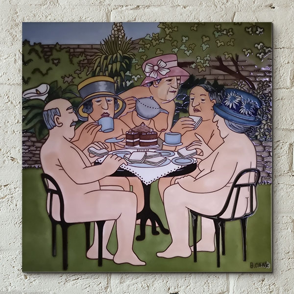 Tea In The Garden Wall Tile By Beryl Cook