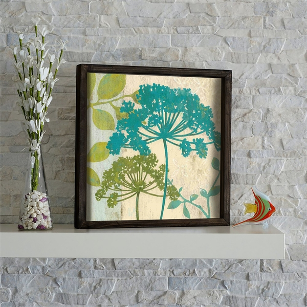 KZM428 Brown Green Beige Mint Decorative Framed MDF Painting